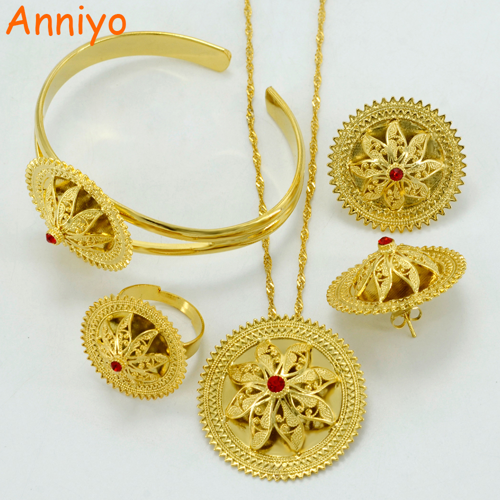 Anniyo Ethiopian Ethnic Jewelry Sets Necklace Earrings Ring Bangle Gold Color Africa Bride Wedding Eritrea Habesha