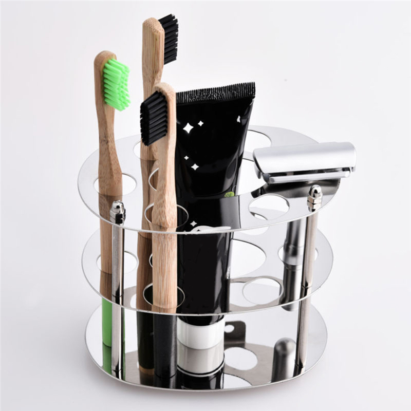 Stainless Steel Square Bathroom Toothbrush Holder Round Glass Cup Home Toothbrush Holder Wall Mounted Accessories Toilet