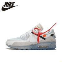 NIKE X OFF WHITE AIR MAX 90 OW Women Running Shoes Air Cushion Breathable Outdoor Comfortable Sneakers#AA7293
