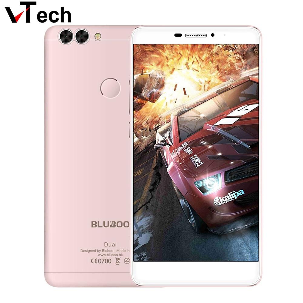 "Цена за Оригинальные Bluboo Dual 5.5 ""двойная камера 4 Г FDD LTE Мобильный телефон MTK6737T Quad Core 3000 мАч 2 ГБ RAM 16 ГБ ROM Отпечатков Пальцев 13MP OTG"