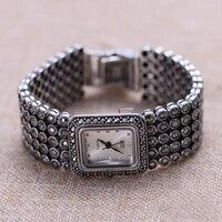 Hot Sale Women Classic Thai Silver Bracelet Watch S925 Silver Bracelet Watch Pure Silver Bracelet Watches Real Silver Bangle