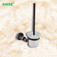 KINSE Brass Material Classic Style Toilet Brush Holders Modern Durable Toilet Brush With Holder Toilet Accessories