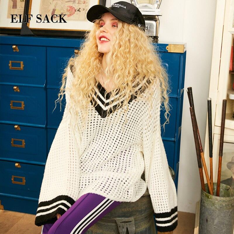 ELF SACK Casual V-Neck Stylish Striped Sweater 18302015