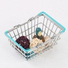 Детские игрушки для ролевых игр, металлические мини-игрушки для покупок, корзина для хранения игрушек