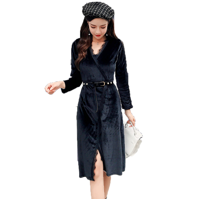 Woman Silks Satins Wrap Dress Black V neck Robe Femme Lace Crochet Long Sleeve Chic Dresses Women Classy Sexy Smooth Dress 4XL
