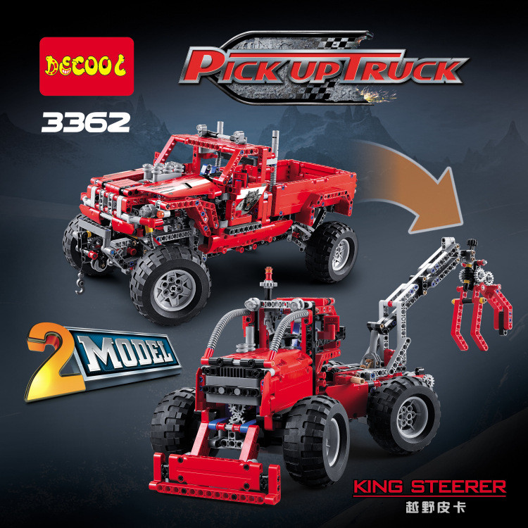Technic 2 in 1 Pickup Truck Transformable fit legoings technic city Model Building Block bricks truck model gift kid boy toys 608pcs race truck car 2 in 1 transformable model building block sets decool 3360 diy toys compatible with 42041