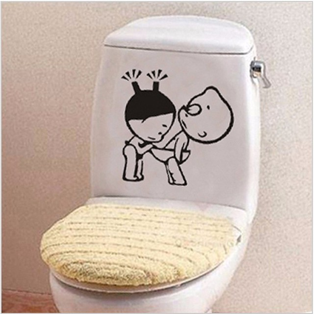 Attractive 2pcs Sticker On The Toilet Seat Funny Bathroom Wall Decals Home Decoration  Creative Toilet Stickers Cute