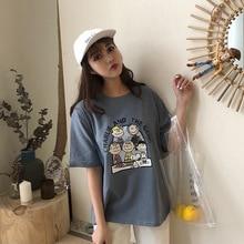 2019 new summer tshirt women cartoon print short O-neck casual