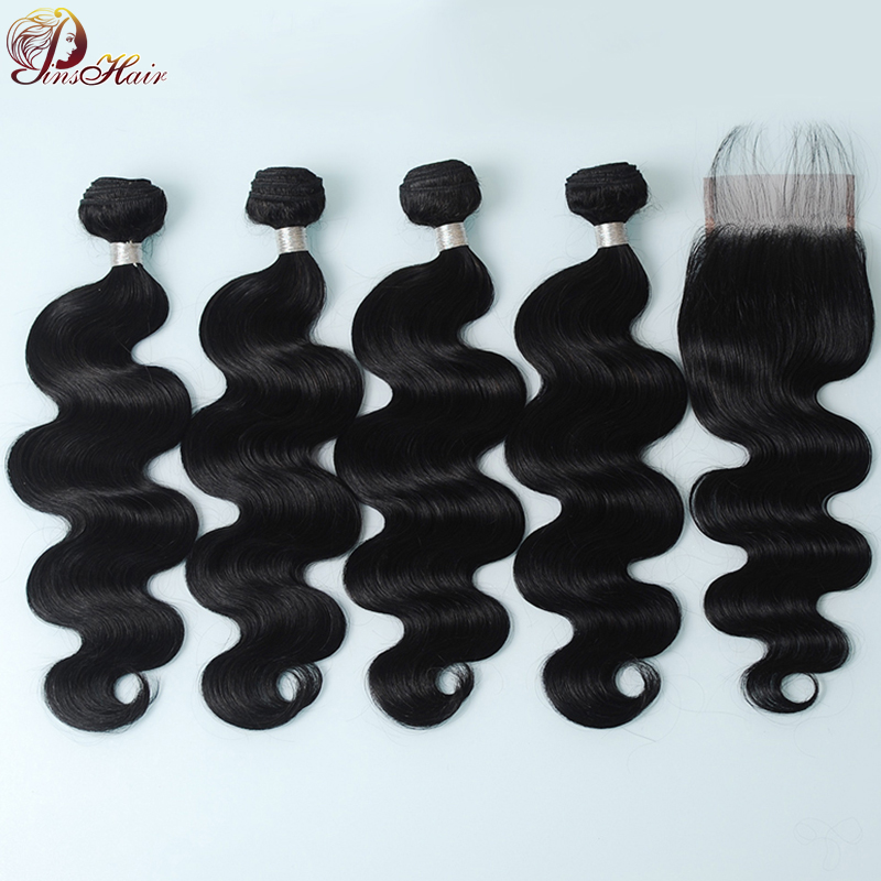 Malaysian Hair Bundles With Closure Body Wave Natural Color Human Hair 4 Bundles With Closure With Baby Hair Pinshair Non Remy