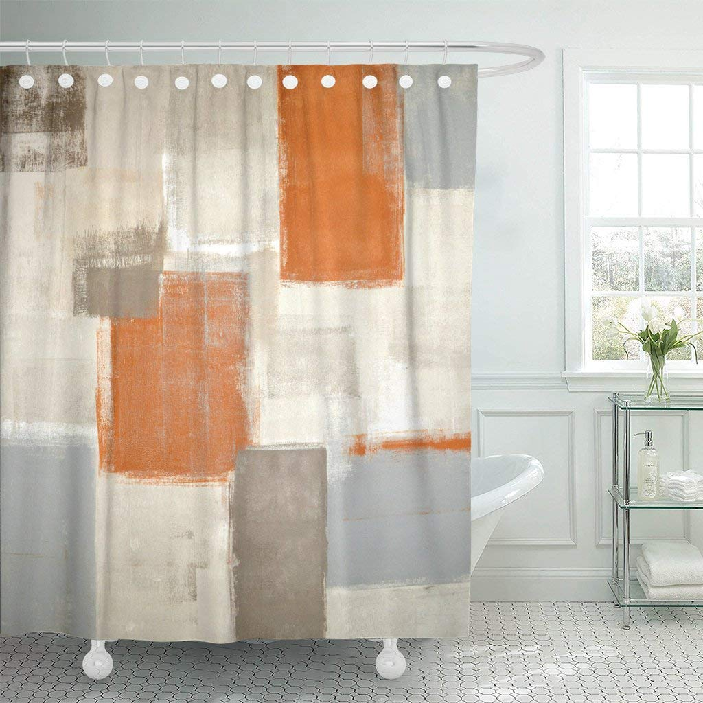 Us 16 69 44 Off Gray Contemporary Beige And Orange Abstract Painting Brown White Blocks Gallery Grey Decor Shower Curtains Bathroom Curtain In