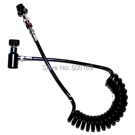 Image 2 - PCP airgun shooting paintball Coil Remote Hose Thick line 2.5M without Slide Check(BLACK) paintball accessories-in Paintball Accessories from Sports & Entertainment