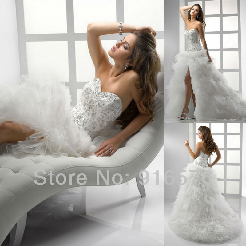 Crystal Bodice Wedding Gown: Flirt Sweetheart Sequin Front Slit Floor Length Crystal