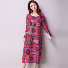 New Women Spring Dress Nice Long Sleeve Vintage Print O-Neck Plus Szie Women Dresses Cute Linen Dress ZY461(China)