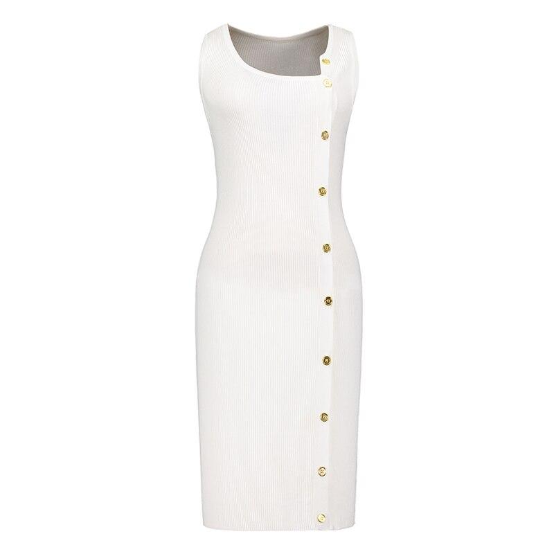 Kinikiss Women Button Sweater Dress Sleeveless Asymmetrical Bodycon Dress Office Lady Work Beige Breasted Elegant Knitted Dress