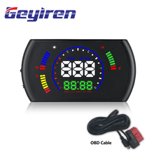 GEYIREN S600 head-up display car hud car speed projector OBD interface HUD speed RPM voltage water temperature Fuel cosumption universal car gps hud head up display obd2 gps car styling speed rpm fuel consumptions dashboard windscreen projector obd hud