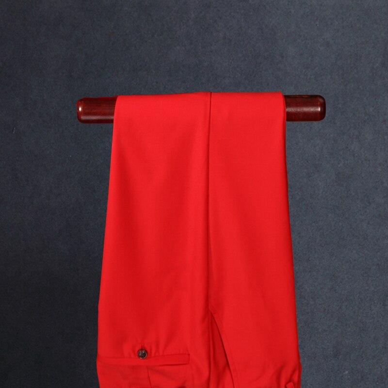 De Formelle Studio Bal Mariage Red Ensembles Spectacle Costumes Marié Tir Costume Pièces Vêtements Mince Pantalon Mâle Gilet 3 Mode Rouge veste 7FUIqT