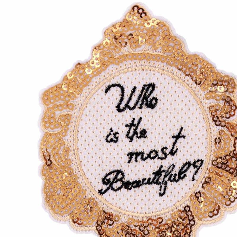 Abbigliamento Donna Shirt Top Fai Da Te Grande Patch di Oro Paillettes a specchio trattare con esso T-Shirt delle ragazze di Ferro su Toppe e Stemmi per i vestiti adesivi