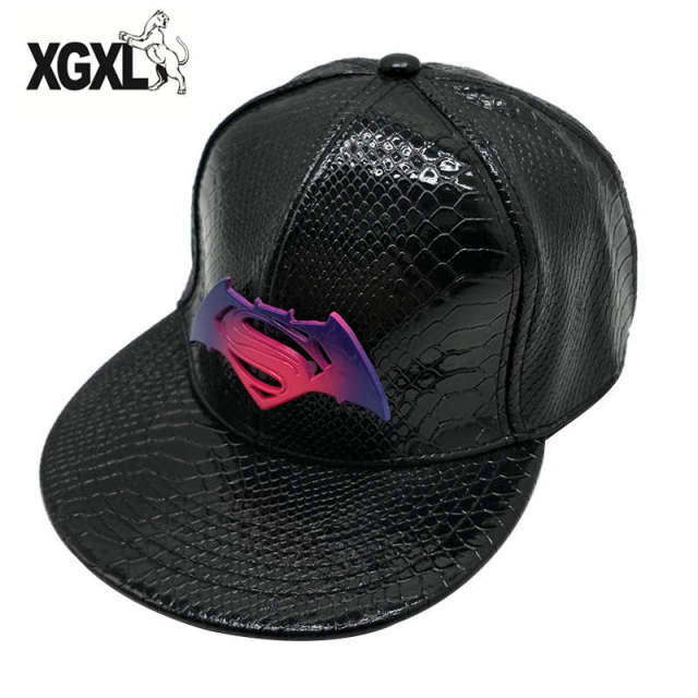 cb0130feb65 2018 New Marvel PU Leather Design Metal Batman Baseball Caps For Men Women  Adjustable Snapback Hat Hip Hop Cap Planas Gorras