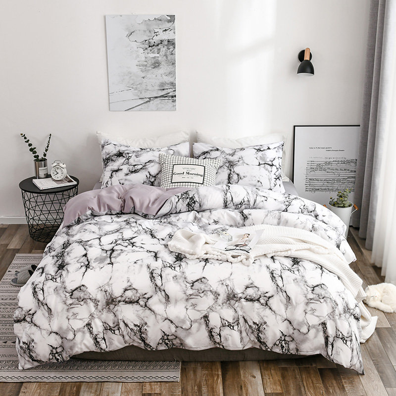 US $19.91 42% OFF|Simple Style Black and White Bed Set Cover King Bedding  Sets Luxury Queen Size Stone Texture Pattern Microfiber Bed Linen-in  Bedding ...