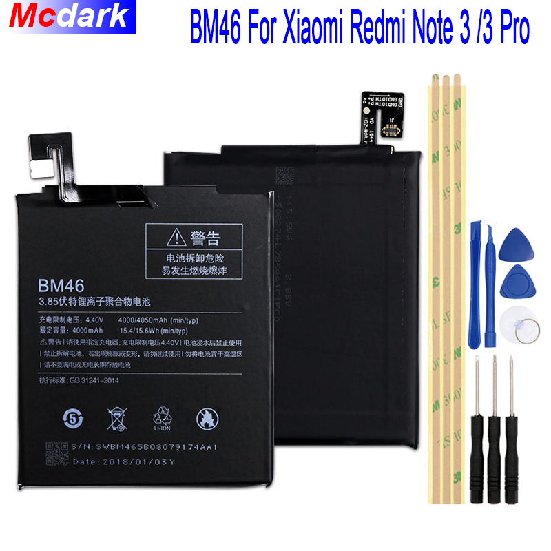 4000mAh 4050mAh BM46 Battery For Xiaomi Redmi Note 3 Mi note3 Pro Prime Bateria Accumulator Tools