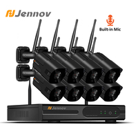 Jennov 1080P Video Surveillance CCTV Kit IP Camera Outdoor 2MP P2P Security Camera System Wifi Wireless 4Ch 8CH NVR Audio System