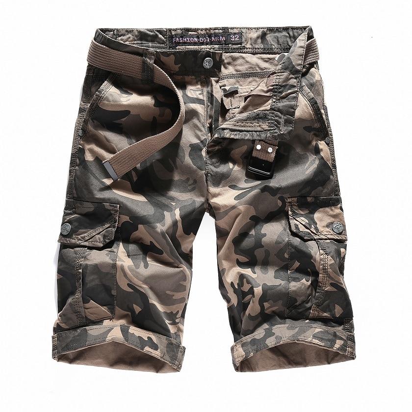 Fashion Men Casual Shorts A Warrior Camouflage Trousers 2018 Pockets Cotton High Waist Tooling Shorts Man Khaki 1625B