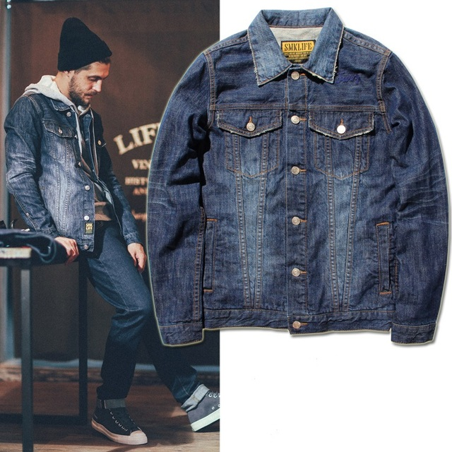 Jean denim jackets fashion tends wear men street clothing long ...