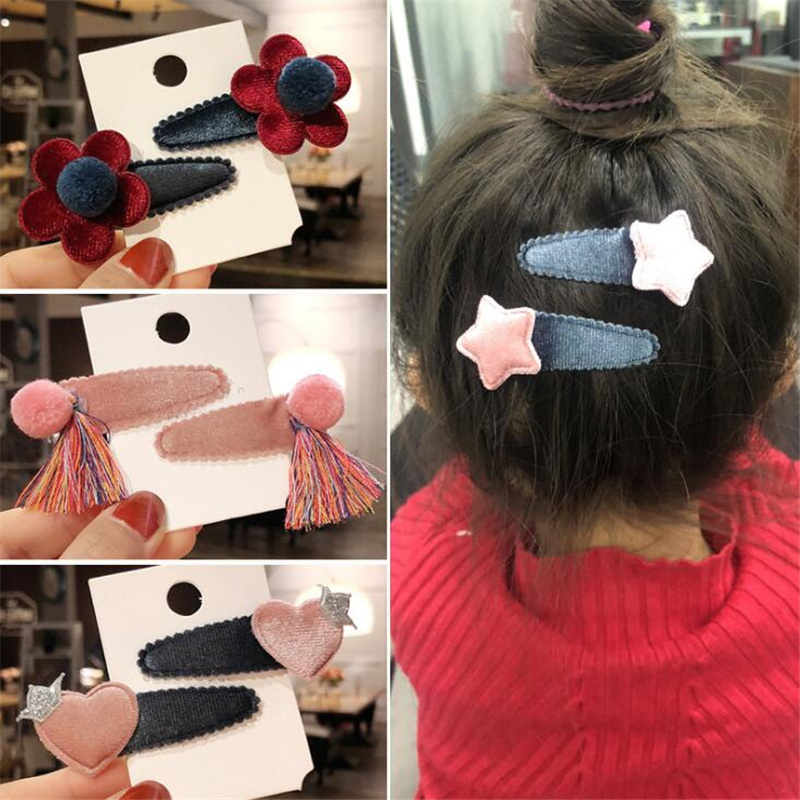 Lovely 2 pcs/set Children Girls Heart Hair Clips Hair Accessories set Korean Kids Flower Barrette Princess   Headwear   Wholesale