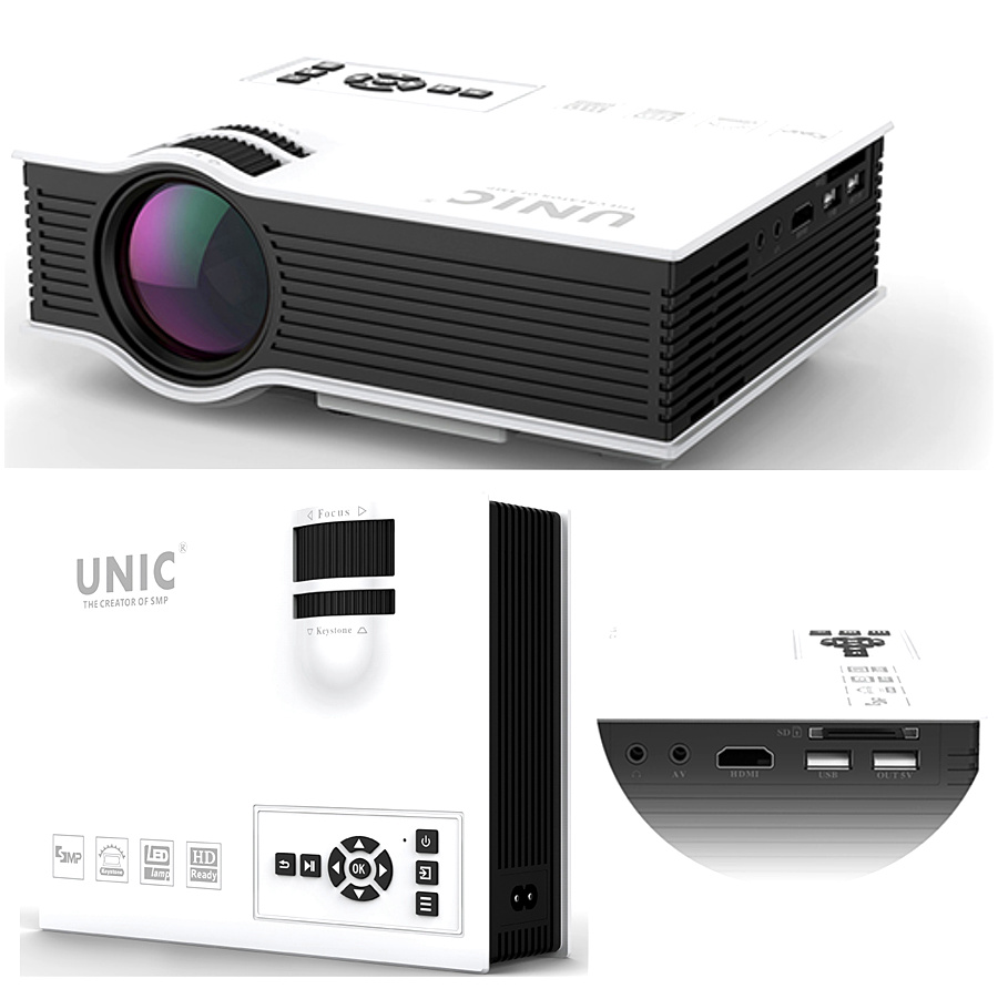 Unic uc40 800 lumens led mini projector home cinema for Good mini projector