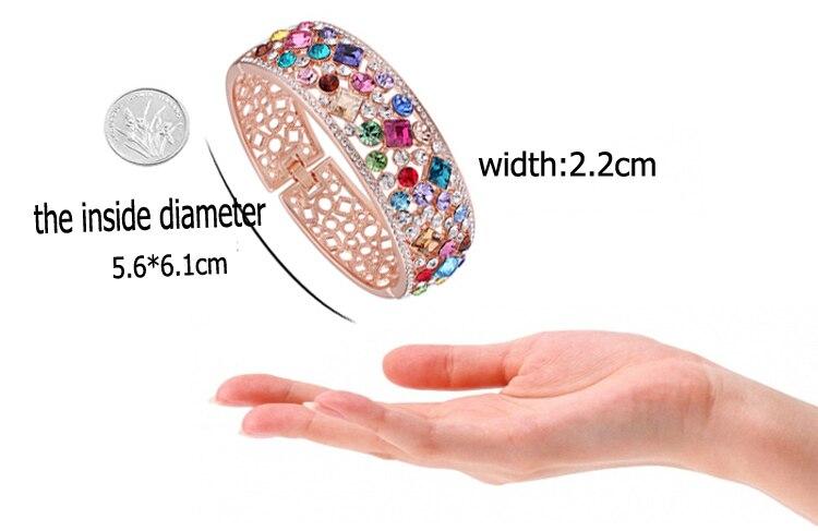 Bracelets en alliage de couleur or Rose avec Bracelet creux coloré pour femme - 4