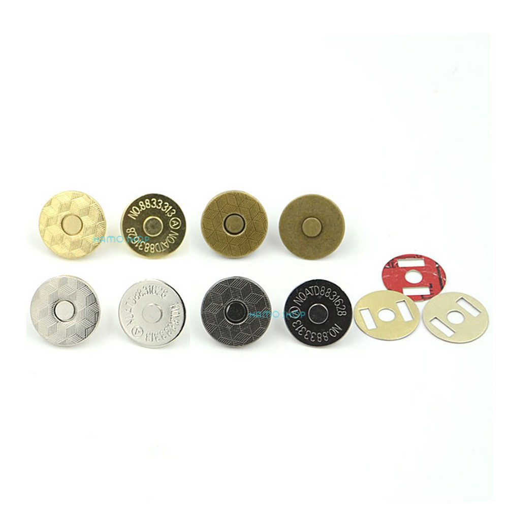 10pcs 18mm Mix 4 Colors Thin Magnetic Clasp Purse Snaps Closures Round Sewing Button Bag Press Studs image