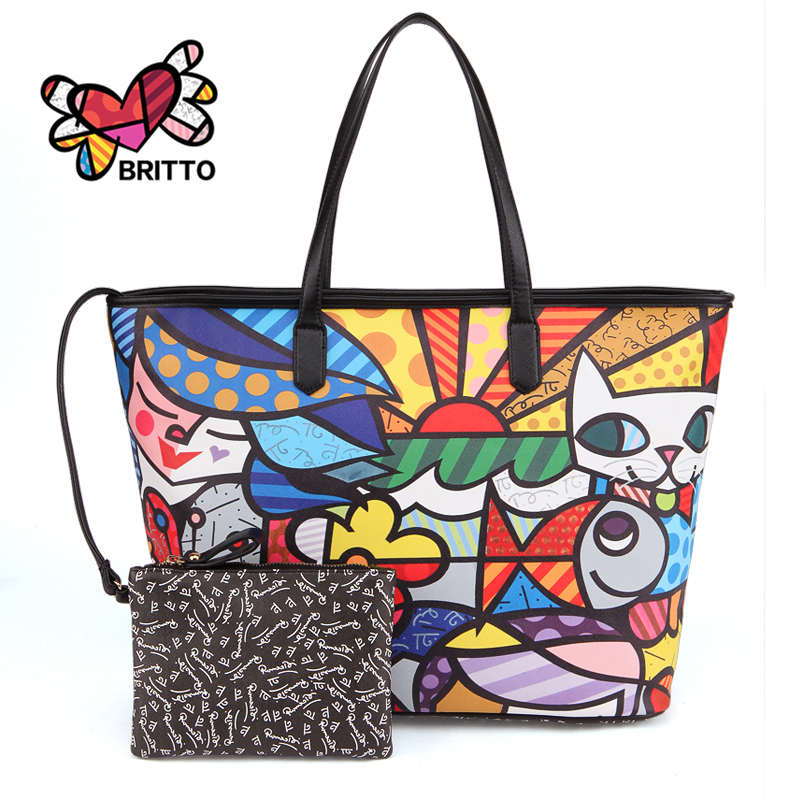 ROMERO BRITTO 2017 New Brand PU Printed Women Leather Designer High Quality Big