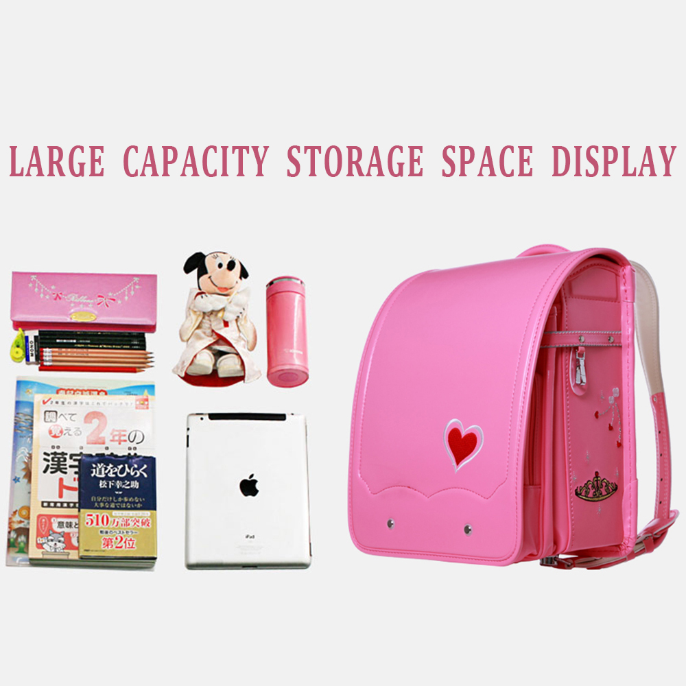 Coulomb Children Orthopedic Backpack For Girl School Bag PU Leather LOVE Red Princess Baby Book Bags Kids Backpacks 2017 New In From Luggage
