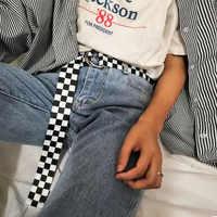 HUOBAO Women's Checkerboard Belt Canvas Waist Belts Cummerbunds Waistband Casual Checkered Black White Plaid Belt