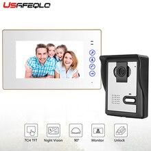 """USAFEQLO """" цветной ЖК-проводной видеодомофон для двери ночного видения 700TVL камера видеодомофон домашний видеодофон"""