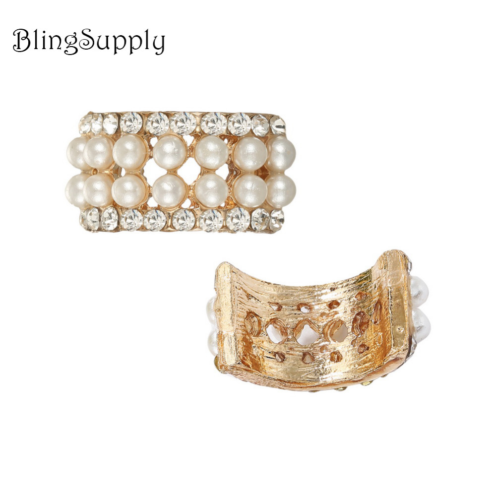 Free shipping pearl crystal rhinestone button 100PCS/lot for hair accessary (BTN-5713)