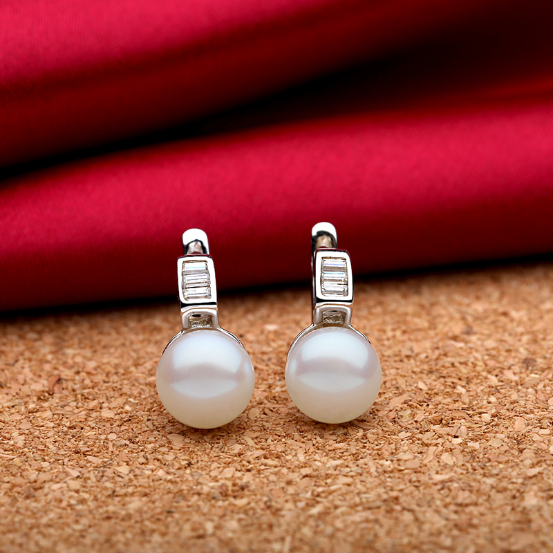 TZ4107EB 925 Sterling silver natural freshwater pearls earring