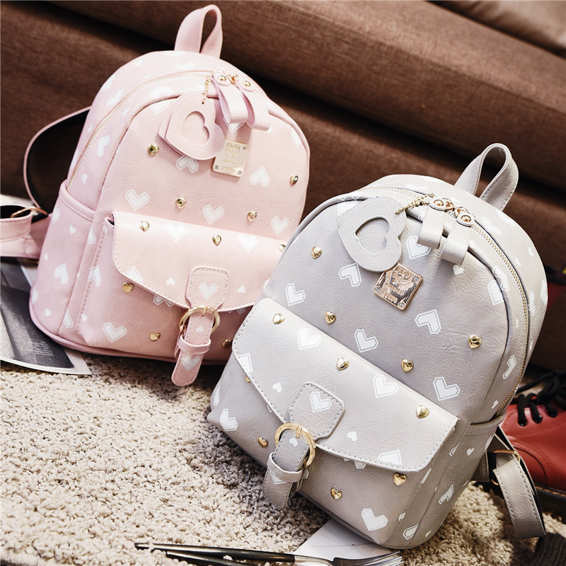 Korean version Japanese fashion Leisure sweet PU Cute Heart shaped print bag Small fresh Cartoon lovely