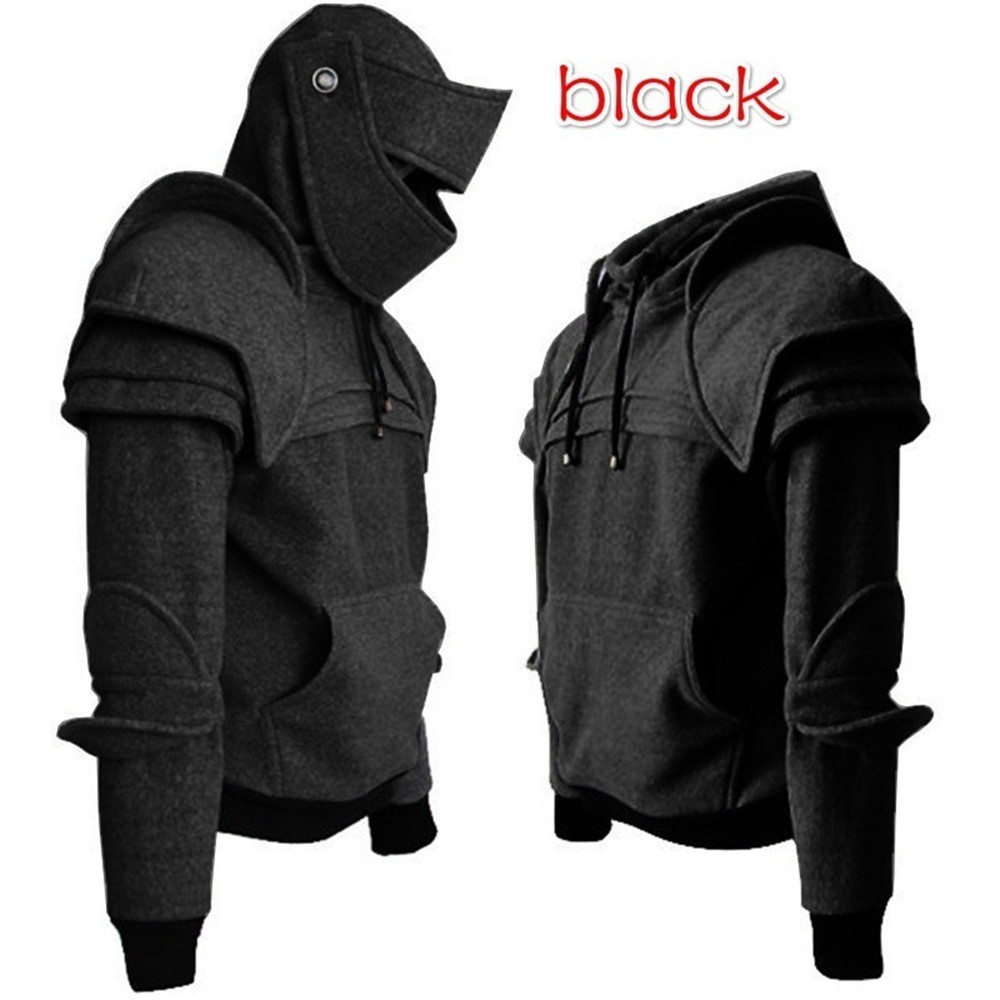 Cosplay medieval vintage warrior soldier knight mask armor knee Sweater top jacket Sweatshirt for men autumn winter men costumes