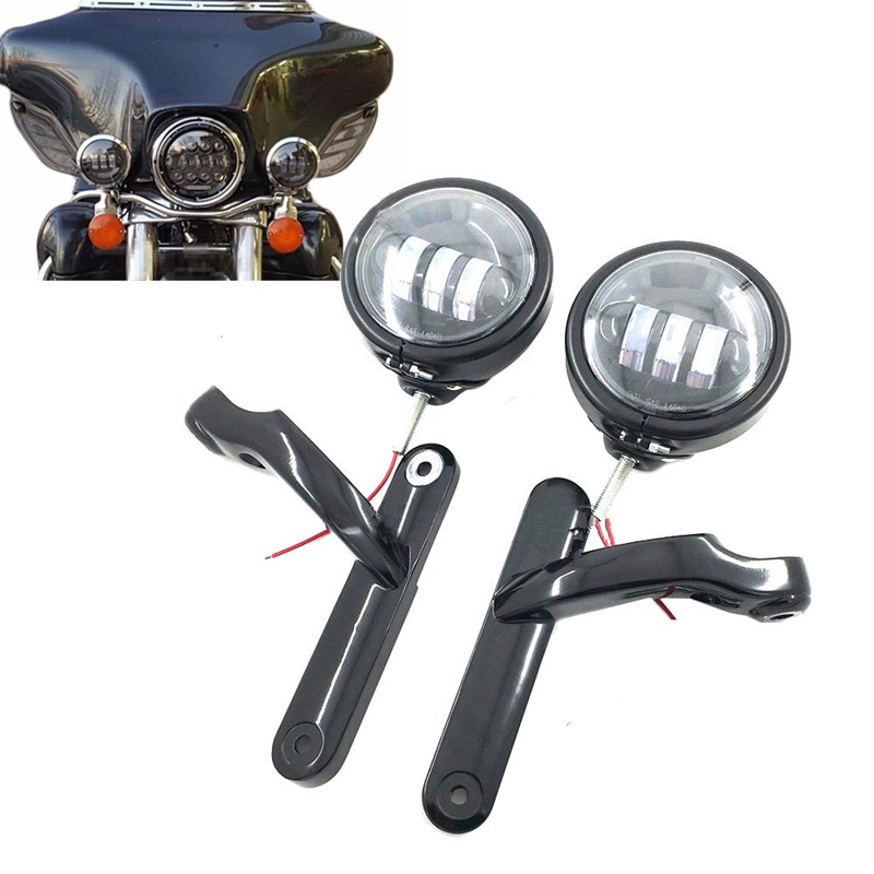 Motorcycle Chrome Passing Lamp With Housing Shell For Harley Street Glide 4-1/2