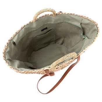 LJL new Straw+Polyester bag fashion leisure straw bag quality craft paper holiday weaving handbag beach bag