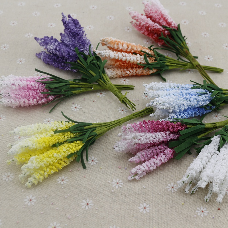 10pcs lavender foam Artificial flowers for wedding decorations Bride Bouquet handicraft DIY wreath Gift Scrapbooking Fake flower