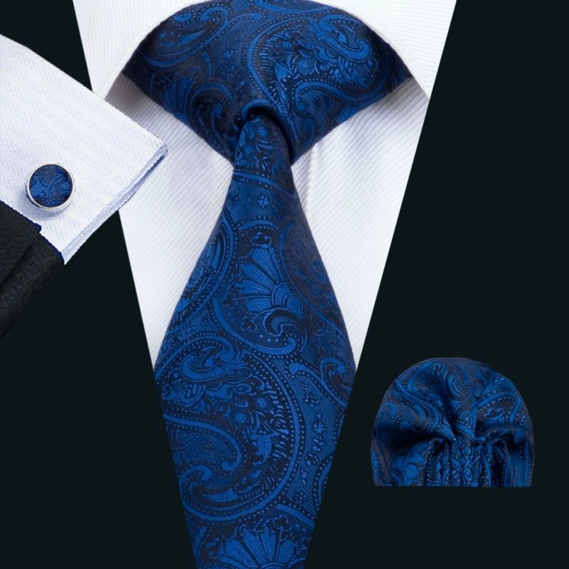 LS-1435 Barry.Wang Fashion Men`s Tie 100% Blue Paisley Silk Necktie Hanky Cufflink Set For Men`s Wedding Party Groom Business