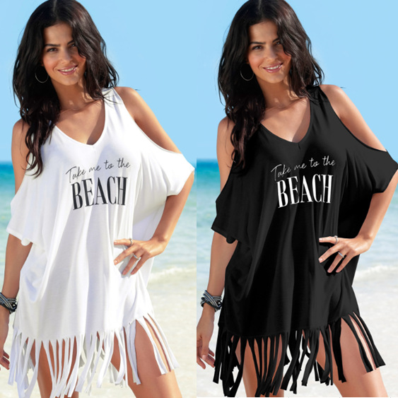 Summer Swimsuit Swimwear Bathing Suit Sexy Off Shoulder Women Beach Sarong Black White Tassels Print Beach Dress Tunic Cover Ups