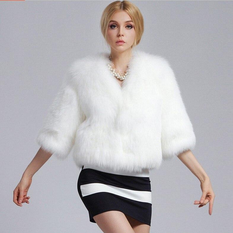 f968d783872 Winter White Faux Mink Hair Fur Jacket Women s Fourrure Faux Foxes Rabbit Fur  Coat Elegant Fox Fur Natural V neck Thick Coats