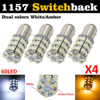 4Pcs 5W Yellow And White 1157 SMD BAY15D 12V LED Car Bulbs Switchback LED Drive DRL Turn Signal Parking Light