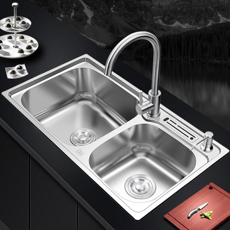 Évier de cuisine en acier inoxydable double bol au-dessus du comptoir ou des éviers udermount lavabo végétal 1.2mm épaisseur éviers cuisine