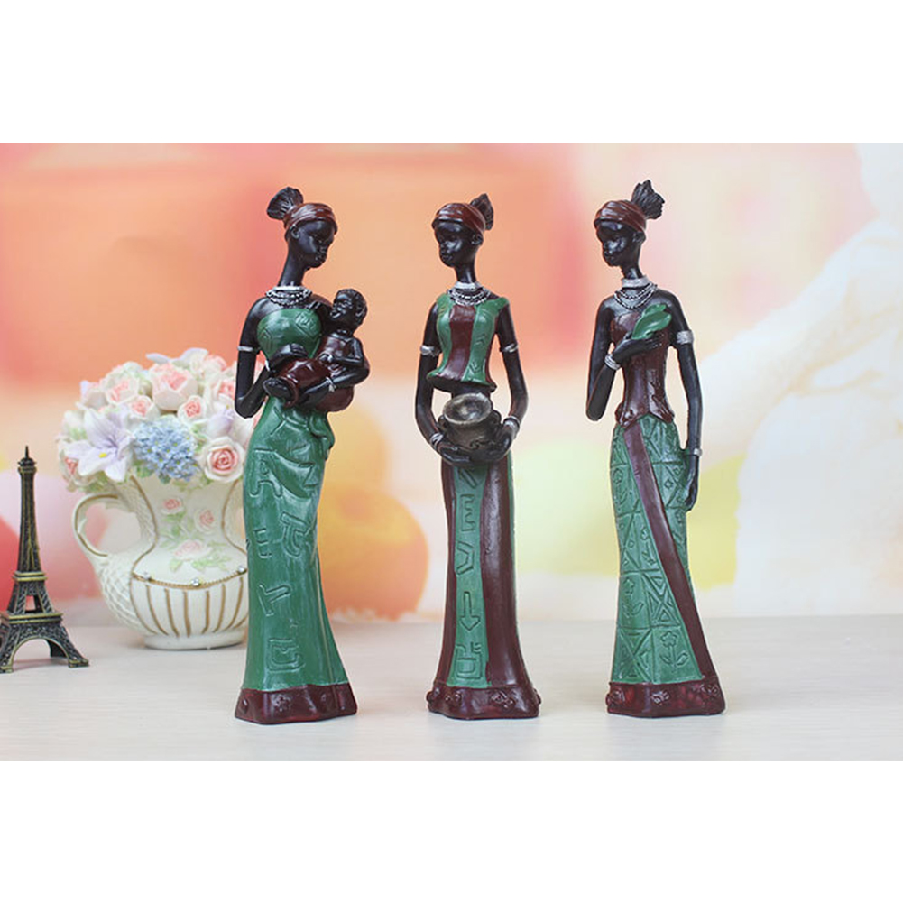 3 Pcs Display African Lady Sculptures Craft Figurine Table Decor Home Exquisite Gift Handmade Exotic Statue Resin