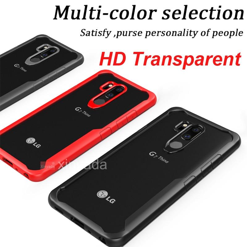 Soft Gel Bumper Silicone TPU Clear PC Hard Back Cover For LG G7 Thin Q ThinQ V40