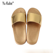 Yu Kube Brand 2018 Summer Slippers Bling Flip Flops Sandals Slip On Slides Shoes Women(China)